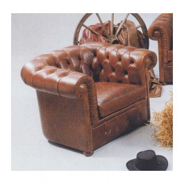 Chesterfield stol i original stil og ægte læder